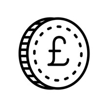 Business And ECommerce Icons - Coin Pound (Outline)