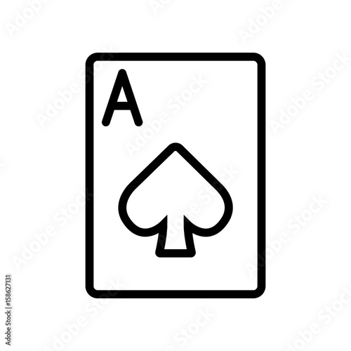 Photo Casino & Gambling icons - laying Card Ace of Spades (Outline)