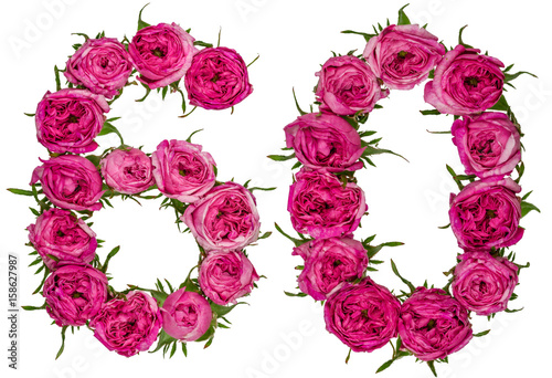 Fotografia  Arabic numeral 60, sixty, from red flowers of rose, isolated on white background