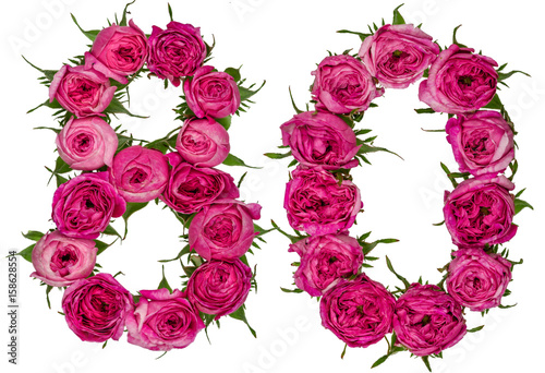 Fotografia  Arabic numeral 80, eighty, from red flowers of rose, isolated on white backgroun