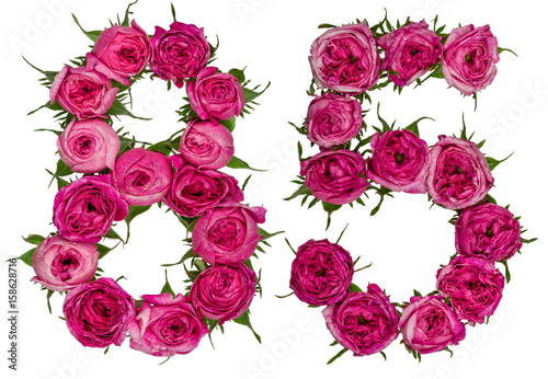 Fotografia  Arabic numeral 85, eighty five, from red flowers of rose, isolated on white back