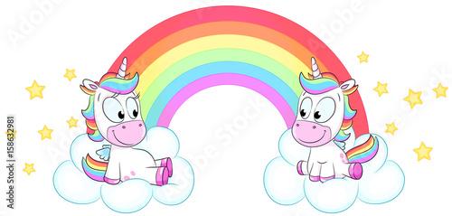 Zwei niedliche Einhörner vor Regenbogen - Vektor Illustration