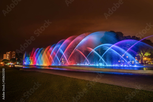 Colorful Fountain at night in the Park of the Reserve in Lima, Peru Fototapeta