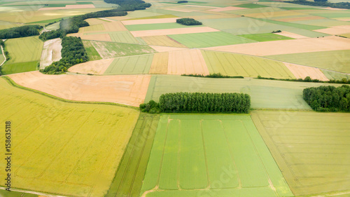 Aerial photograph area on agriculture and village Canvas Print