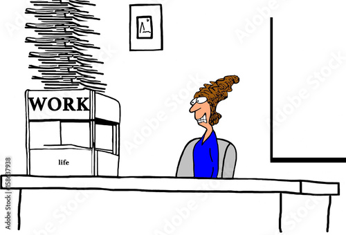 Photo  Business cartoon illustration about work overwhelming the business woman's work life balance