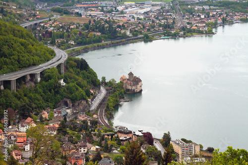 Foto op Aluminium Kust Northeast coast of Lake Geneva and castle Chillon. Montreux, Switzerland