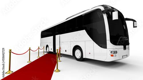 Zdjęcie XXL Czerwony dywan Autobus / 3D render obraz reprezentujący luksusowy autobus na końcu czerwonego dywanu