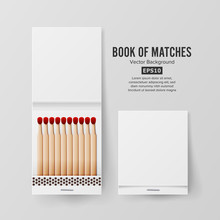 Book Of Matches Vector. Top View Closed Opened Blank. Empty Mock Up. Realistic Illustration