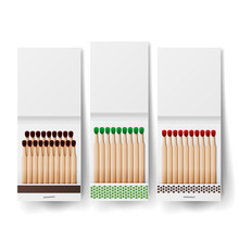 Book Of Matches Vector. Top View Closed Opened Blank. White Blank Matchbooks. Realistic Illustration