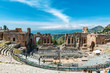 Greek theater in Taormina with Etna volcano Sicily