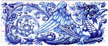 Blue Dragon Azulejo Indigo Ceramic Tile Magnet Souvenir. Realistic Detailed Vector Floor Pattern Ornament Ornate Illustration