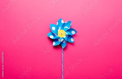 Fotografia, Obraz  Little yellow pinwheel on pink background