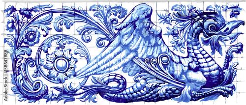 Blue dragon azulejo indigo ceramic tile magnet souvenir Canvas Print