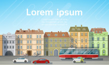 City Building Houses View With Car Road Tram Transport Background Skyline Copy Space Flat Vector Illustration