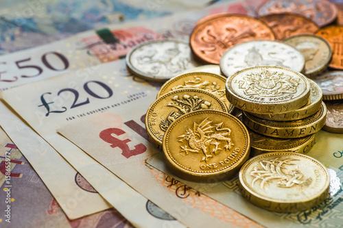 Fotografie, Obraz  British coins stack on black, pound sterling