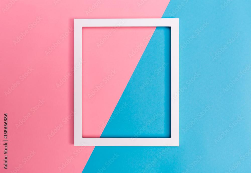 Fototapety, obrazy: Empty frame on a bright split background