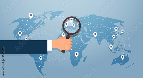Hand Hold Magnifying Glass Over World Map Searching Place For Vacation Gps Pin Vector Illustration