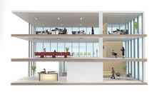 Office Building Cutaway Isolated On White