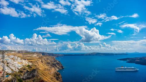 Obraz Landscape Santorini Island, Fira, Cyclades, Greece - fototapety do salonu