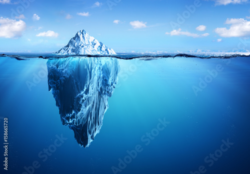 Fotografie, Obraz Iceberg - Hidden Danger And Global Warming Concept