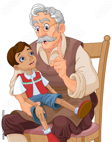 Canvas Prints Fairytale World Mister Geppetto and Pinocchio