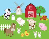 Fototapeta Fototapety na ścianę do pokoju dziecięcego - Vector illustration of farm animals such as cow, horse, pig, sheep, chicken, bull, rabbit with barn and windmill.