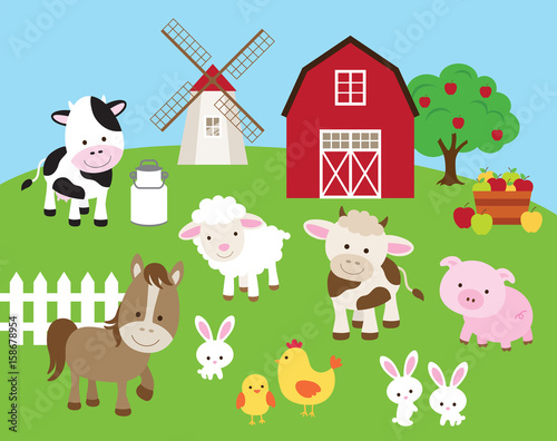 Foto  Vector illustration of farm animals such as cow, horse, pig, sheep, chicken, bull, rabbit with barn and windmill