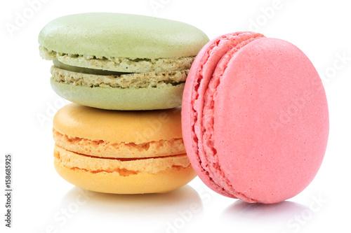 Macarons Macaroons Kekse Nachtisch Dessert aus Frankreich Freisteller