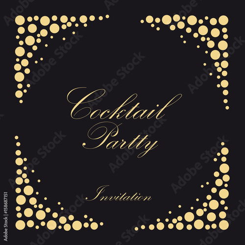 Cocktail Party Invitation Vintage Poster Vector Black