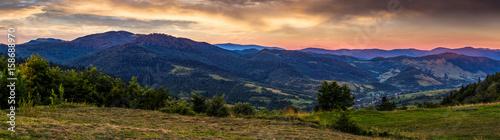 Fototapeta panoramic countryside landscape at sunrise obraz na płótnie
