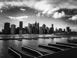 Buildings of Manhattan and ports in black and white style
