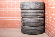 Used Tires Stored In The Garage.