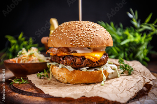 Tasty grilled beef burger