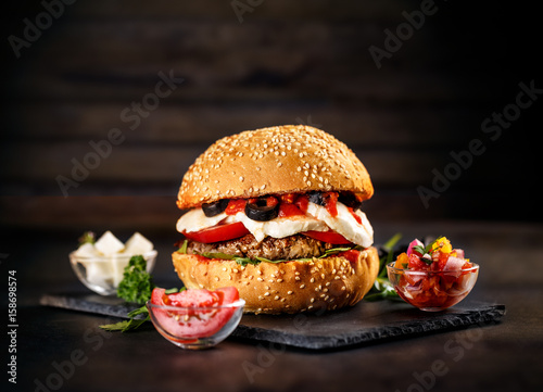 Tasty burger and fries
