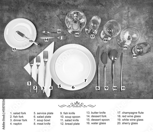 Beautiful table setting with white plates