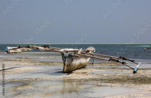 In de dag Zanzibar Dhow, Sailboat / Kiwengwa Beach, Zanzibar Island, Tanzania, Indian Ocean, Africa