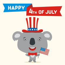 Happy 4th Of July! Funny Koala Bear With Flag USA For Independence Day. Greeting Card For Independence Day USA With Cartoon Koala Bear.