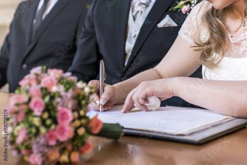 Marriage Elegant Bride Signing Register Holding Pen And Official Doent Wedding
