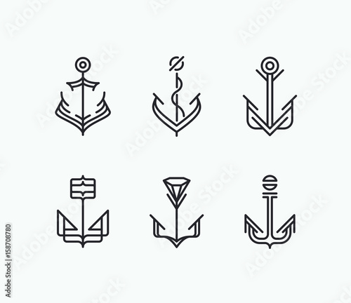 Leinwand Poster Abstract geometry anchor symbols' set