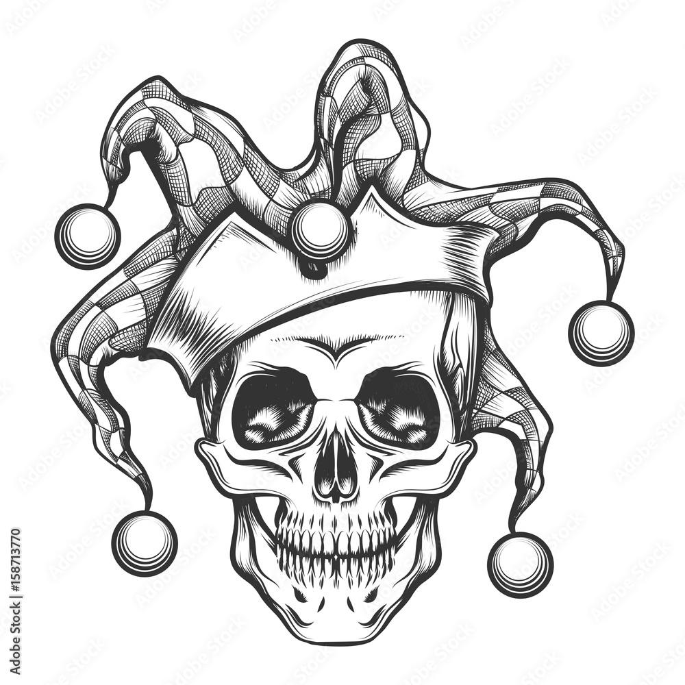 Fotografía The Skull In Joker Cap Europosterses