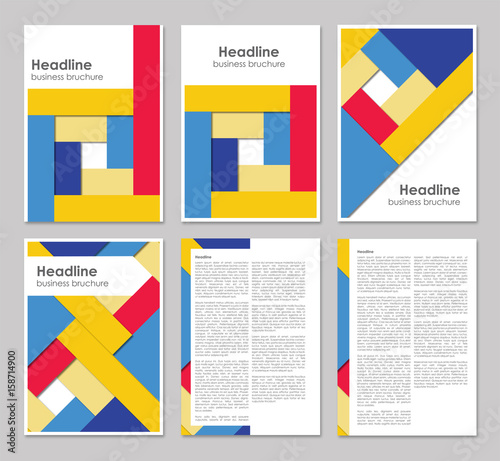 colorful brochure template design a4 6 pages with geometric