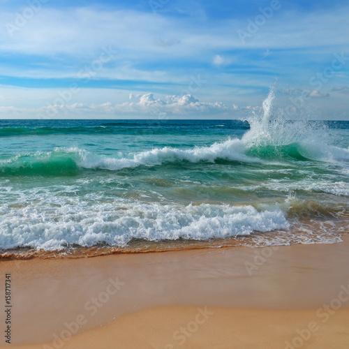 Staande foto Zee / Oceaan ocean, sandy beach and blue sky