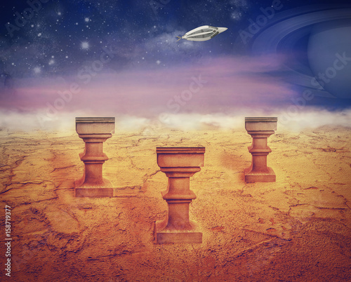 Photo  Landing on Mars sureal artwork
