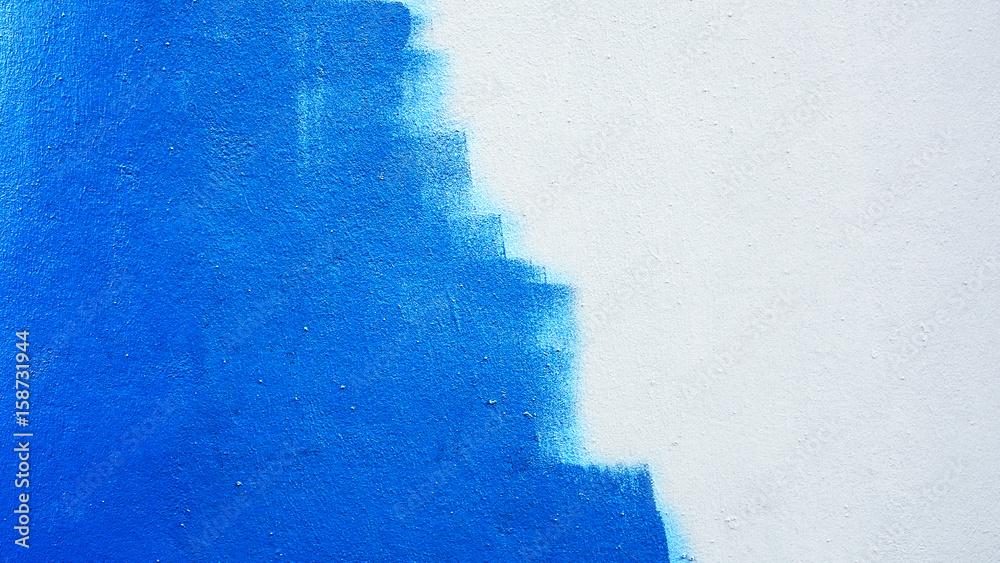 Fototapeta Unfinished blue painted wall background