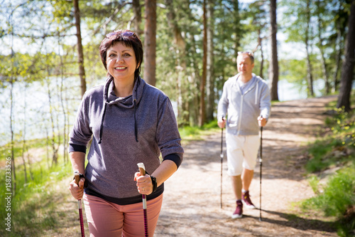 Foto  Summer sport in Finland - nordic walking