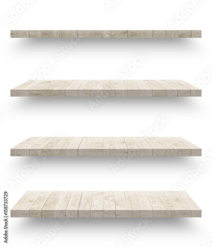Fotografía  Wooden shelf isolated on white background with clipping path