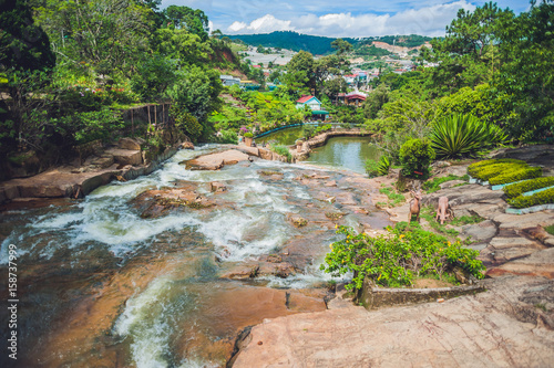 Photo Stands South America Country Beautiful Camly waterfall In Da Lat city