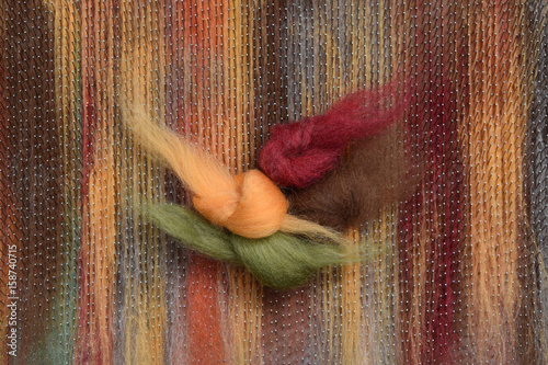 Sheep's wool samples in autumn colors blended on a blending board Canvas Print