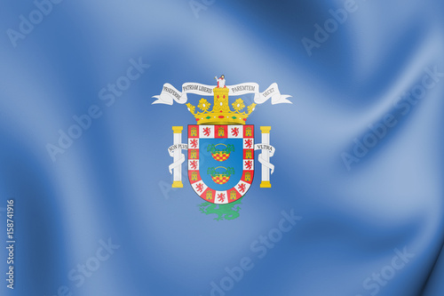 3D Flag of Melilla, Spain.