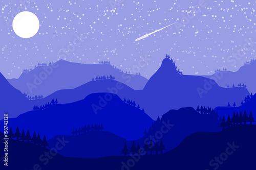 Fototapeta mountain hill landscape sky background.vector and illustration obraz na płótnie